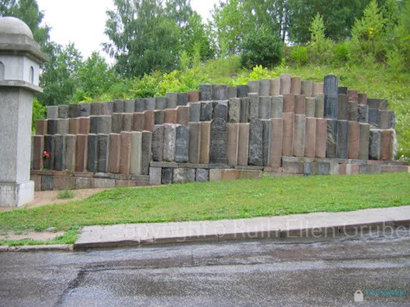 Monument in Vilnius built of recovered gravestones that had been used in construction. Photo © Ruth Ellen Gruber
