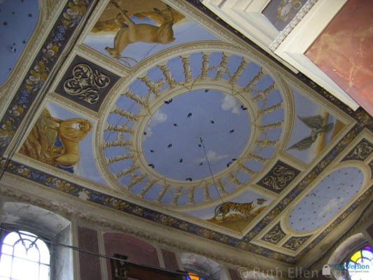 The four animals on the ceiling of the disused synagogue in Siret, Romania