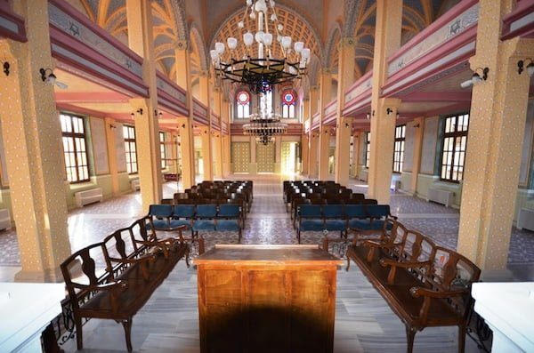 Interior, renovated Great Synagogue in Edirne, Turkey (official photo)