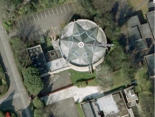 Belfast synagogue, via Google Earth -- showing the star of David form on roof.