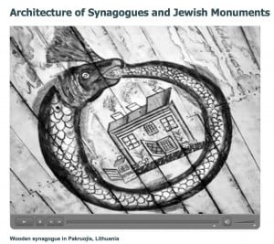 Screen grab from the Center for Jewish Art film on Pakruojis synagogue, showing pre-WW2 ceiling painting of the Leviathan surrounding a town building