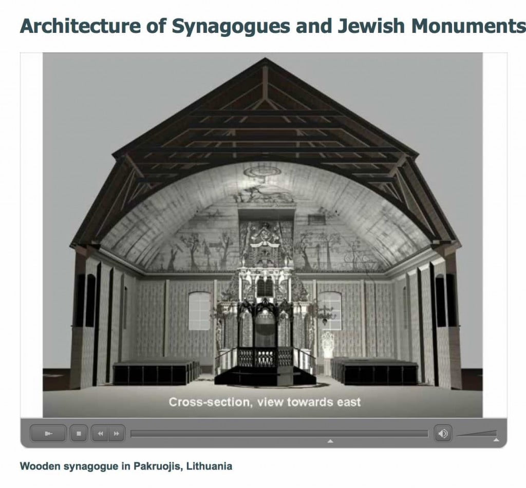 Digital recreation of the Pakruojis wooden synagogue. Screen grab from CJA presentation