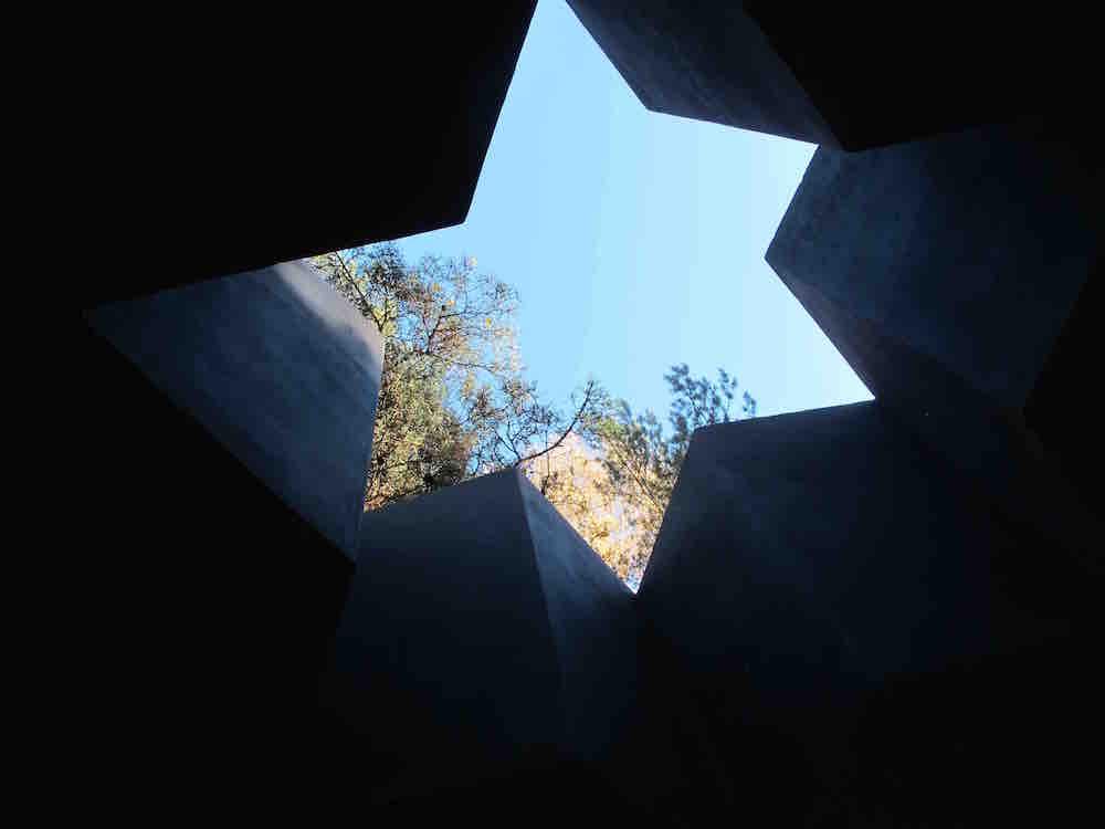 Looking up through one of the memorials at the Seduva complex. Photo © Ruth Ellen Gruber