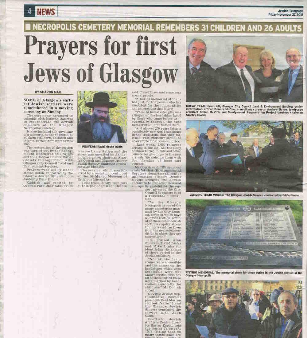 GlasgowJewish Telegraph 27 Nov 2015 Necropolis copy