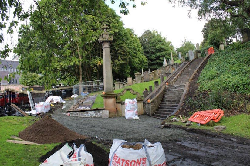 Works during restoration of the Jewish enclosure of the Glasgow Necropolis cemetery. Photo: courtesy Andrew Syme