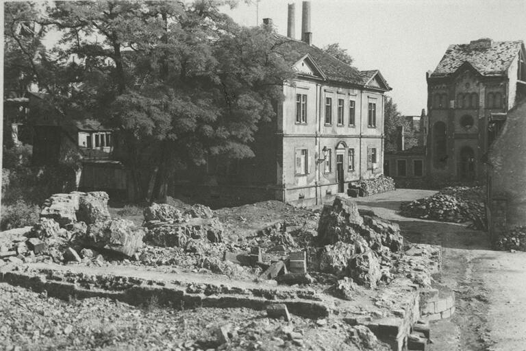 Rubble of the destroyed synagogue in Worms