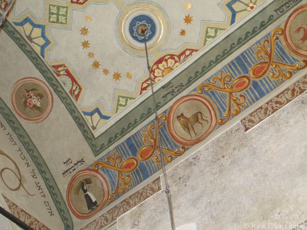 Fresco in Remuh synagogue, Krakow, recently revealed during renovation