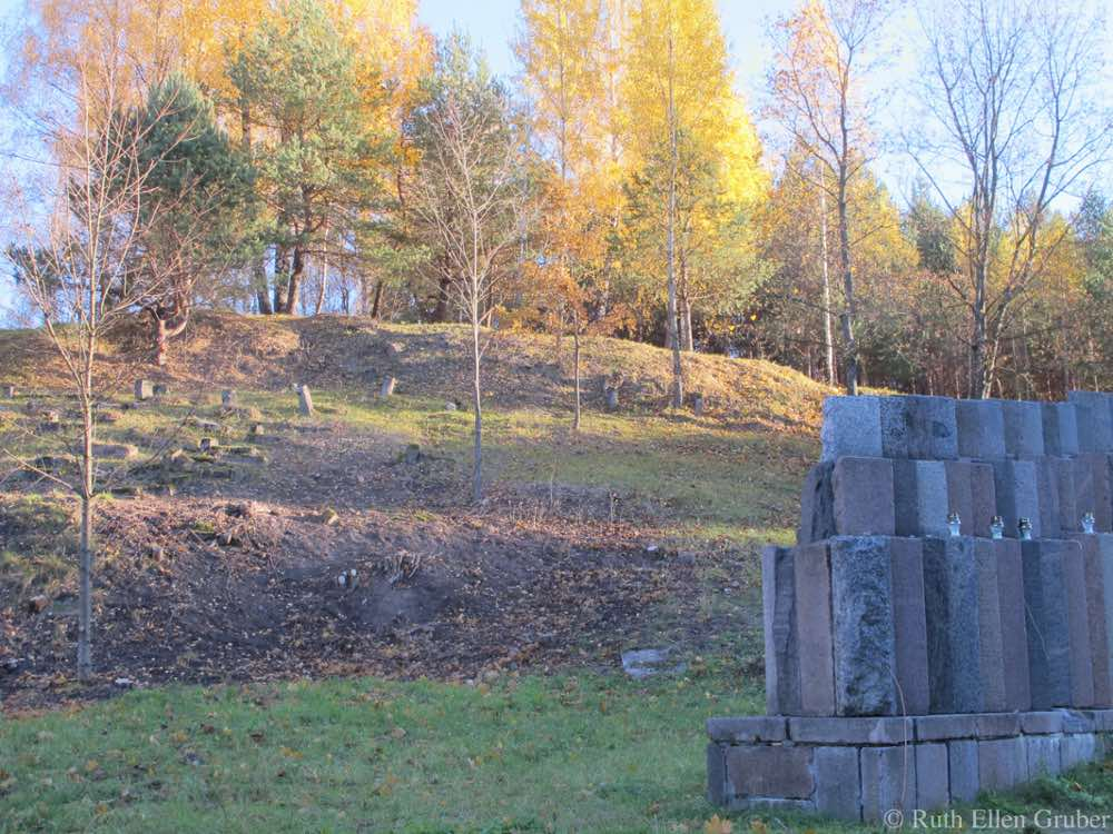 The destroyed Uzupis Jewish cemetery in Vilnius, showing part of the memorial there