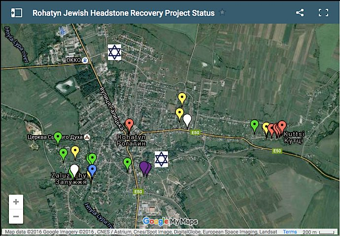 Photo of interactive map of Rohatyn, showing sites of recovered gravestones from destroyed Jewish cemeteries