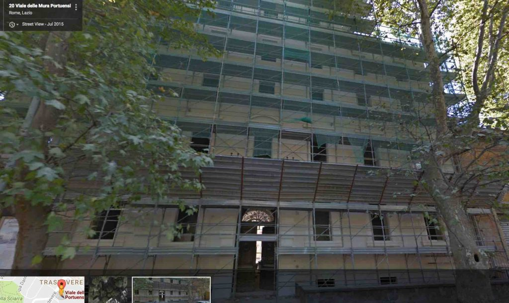 Google street view shows reconstruction work on Palazzo Leonori
