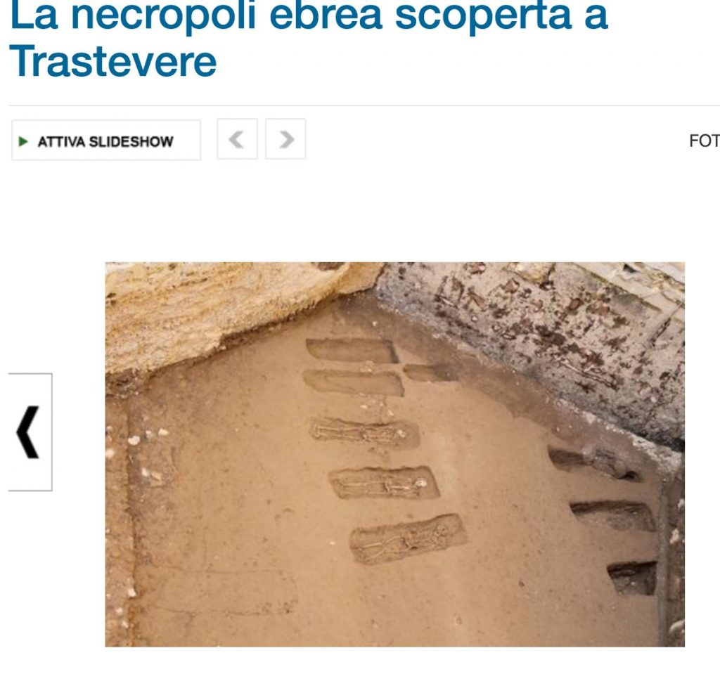 Screen grab from Il Messaggero showing the rows of graves