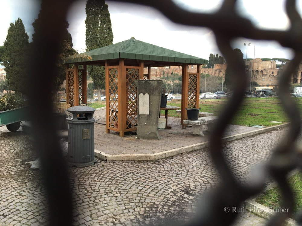 A small memorial marks the site of the Jewish cemetery in Rome dismantled by the Fascists in 1934