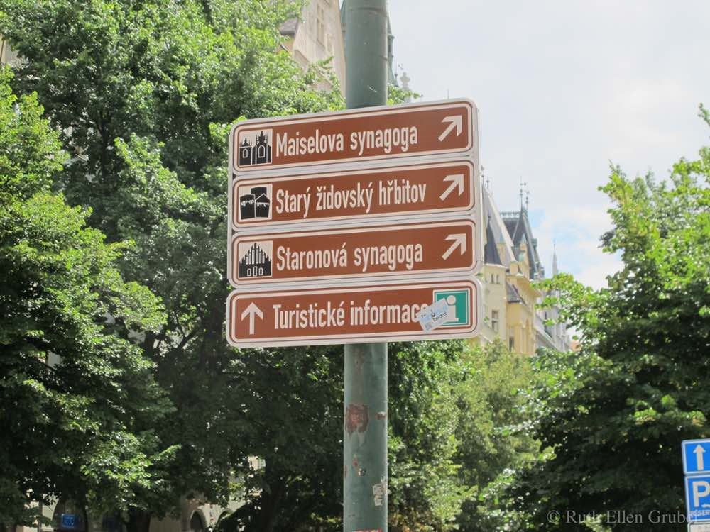 Jewish quarter signage in Prague
