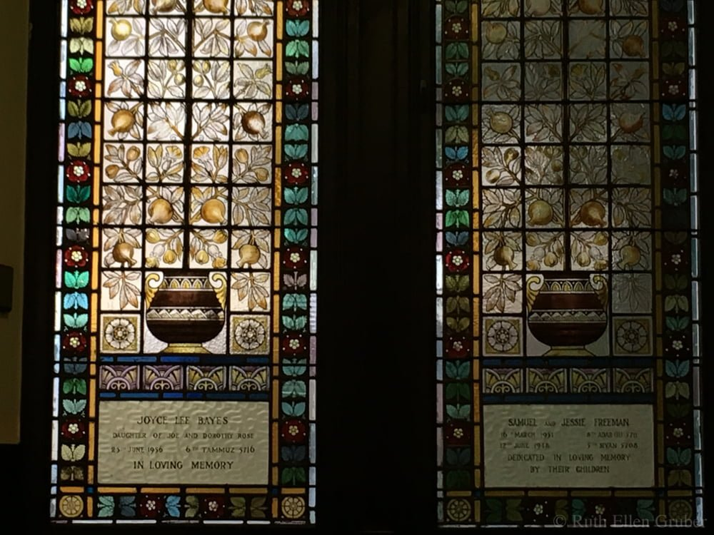Stained glass windows in the sanctuary, Garnethill synagogue