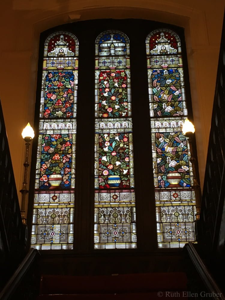 Stained glass windows on the stairway, Garnethill synagogue