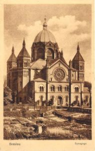 Old Postcard of New Synagogue, Wroclaw