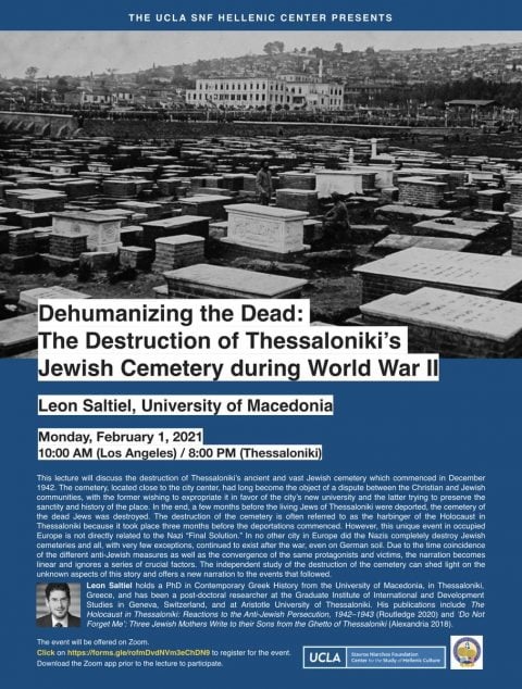 Dehumanizing the Dead: The destruction of the Jewish cemetery of Thessaloniki @ Cary | North Carolina | United States
