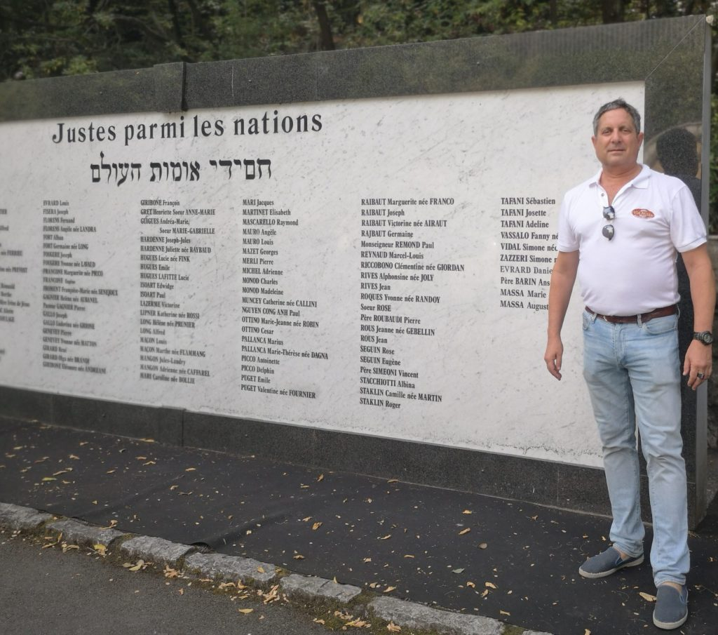 Robert Levitt at the memorial to the Righteous Among Nations