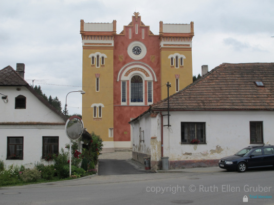 Facade of the restored synagogue in Nová Cerekev is the most distinctive building in the town,