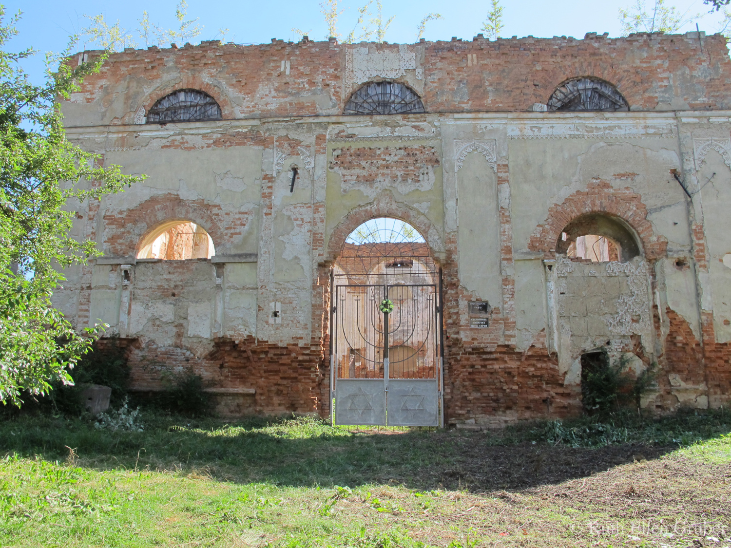 Synagogue ruin in Stryi, Ukraine, following the July 28, 2017 volunteer clean up of vegetation