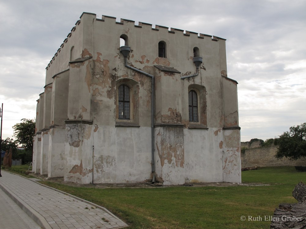 The fortresslike synagogue in Szydlow, Poland dates from the 16th century and is one of the oldest in Poland